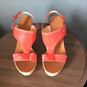 Coach NEW Mendez Red/Orange Wedge Size 9 AUTHENTIC